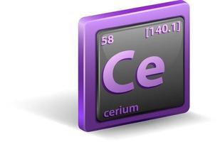 elemento químico cerio. símbolo químico con número atómico y masa atómica. vector