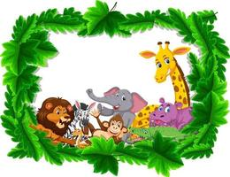 Wild animals group in forest frame vector