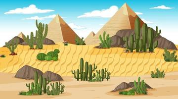 Desert forest landscape at day time scene with Pyramid of Giza vector