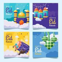 Eid Mubarak Social Media Post Template vector