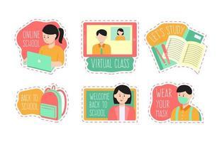 Online School Sticker Set vector
