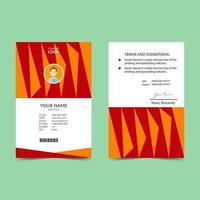 Orange Elegant ID Card Design Template vector