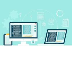 transferir información de un dispositivo informático a otro concepto vector