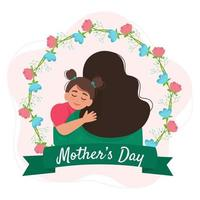 Mother and daughter hugging. Happy Mothers Day greeting card vector