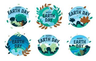 Earth Day Badges Collection vector