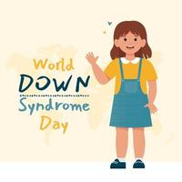 Little happy girl with down syndrome. World down syndrome day. vector