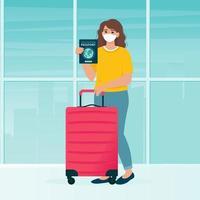Mujer con bolsa de viaje y pasaporte de vacunación en el aeropuerto. vector