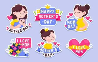 Mothers Day Sticker Collection vector