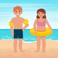Cute little girl and boy in inflatable ring float vector