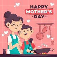 feliz dia de la madre cocinando juntos vector