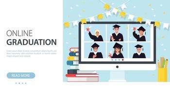 Online graduation banner vector