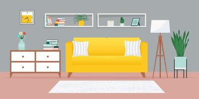 Cozy living room with sofa and other furniture vector