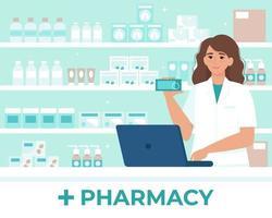 Mujer farmacéutica detrás del mostrador en una farmacia que vende medicamentos vector