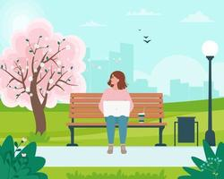 Freelancer woman sitting on a bench with a laptop in the park vector