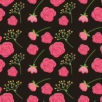 Floral seamless pattern with small pink roses vector