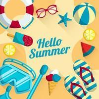 Hello Summer Design Concept vector