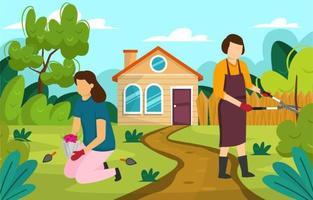 concepto de diseño de jardinería en frente de la casa. vector