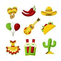 Various Kinds of Cute Cinco De Mayo Icons vector