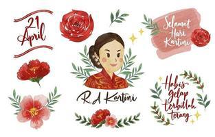 Beautiful Watercolor Happy Kartini Day Sticker vector
