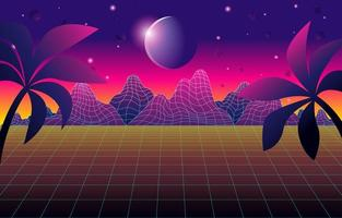 Retro Futurism Mountains Background with Gradient Colours vector