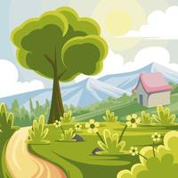 Beautiful Spring Landscape Background vector