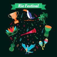 Rio Festival Brazilian Carnival Icon Set vector
