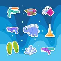 Songkran Water Festival Sticker Set vector
