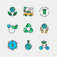Earth Day Simple Flat Icon Design Set vector