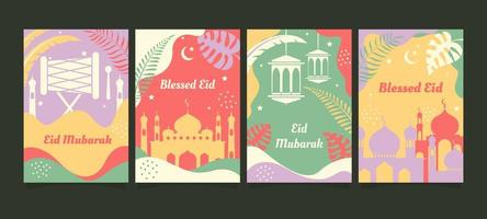 Eid Mubarak Greeting Card Design Set vector