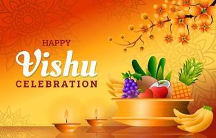 Vishu Day Celebration Realistic Gradient Background Design vector