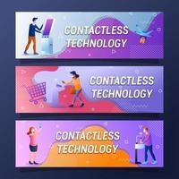 Contactless Technology Futuristic Banner Design Set vector