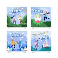 Easter Day Festivity Social Media Post Design Set vector