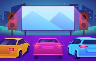 conducir en la película por la noche concepto vector