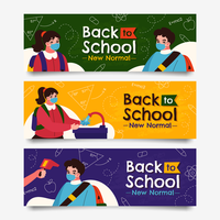 Back to School with New Protocol Banner Collection vector