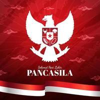 Hari Jadi Pancasila with Indonesian Flag Background vector