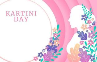 Silhouette Women with Flowers on Kartini Day Background vector