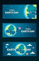 Cute Earth Day Banner Collection vector