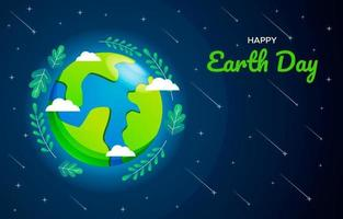 Earth Day Cute Cartoon with Leaves in Space vector