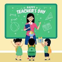 feliz dia del maestro con los alumnos en clase. vector