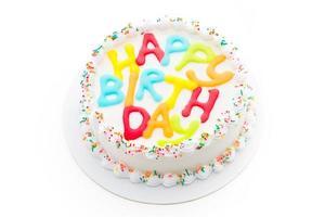 Happy birthday cake isolated on white background