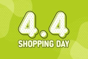 4.4 día de compras, banner de marketing de texto. diseño de discurso de arte pop en colores pastel. ilustración vectorial