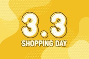 3.3 día de compras, banner de marketing de texto. diseño de discurso de arte pop en colores pastel. ilustración vectorial