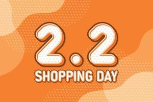 2.2 día de compras, banner de marketing de texto. diseño de discurso de arte pop en colores pastel. ilustración vectorial