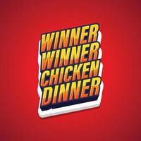 Winner Winner Chicken Dinner, text pop art gaming poster. Vector illustration