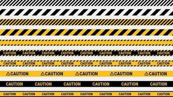 cinta de precaución, línea policial y cintas de peligro. ilustración vectorial vector
