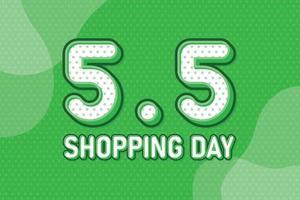 5.5 día de compras, banner de marketing de texto. diseño de discurso de arte pop en colores pastel. ilustración vectorial