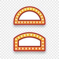 cartelera de bombillas electricas. conjunto de marcos de luz retro vacíos para texto. ilustración vectorial