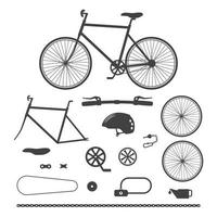 Bicycles, bike accessories icons. Vector illustration