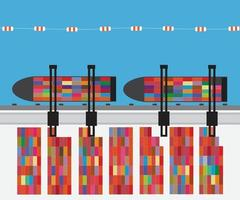 Port with cargo ship and container terminal. Vector illustration