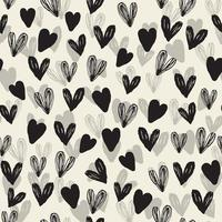 seamless decoration pattern background with monochrome hand draw heart vector